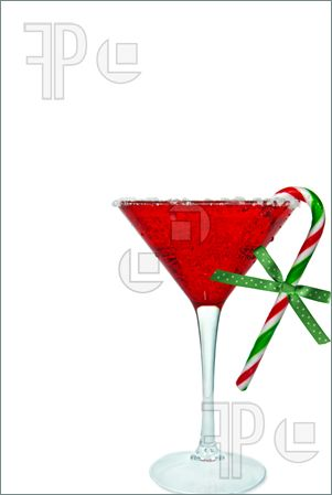 Holiday Martini Glass Clipart.