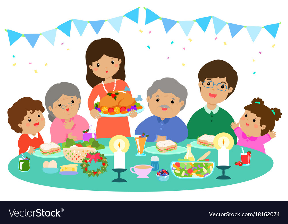 Happy family having a christmas dinner.