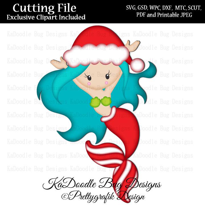 PG Christmas Santa Mermaid SVG CUT FILE PAPER PEICING CLIPART.
