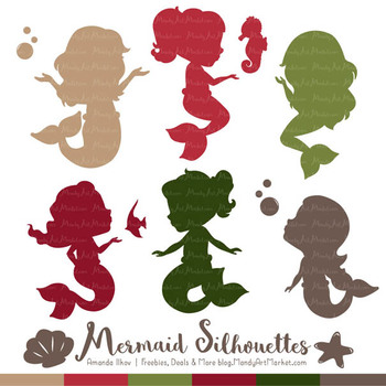 Sweet Mermaid Silhouettes Vector Clipart in Christmas.