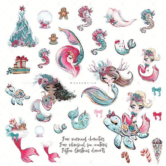 Christmas Mermaids Clipart.