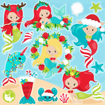 Christmas mermaids clipart commercial use, graphics, digital.