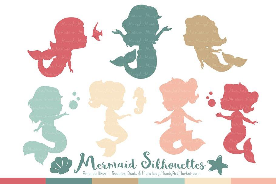Soft Christmas Mermaid Clipart.