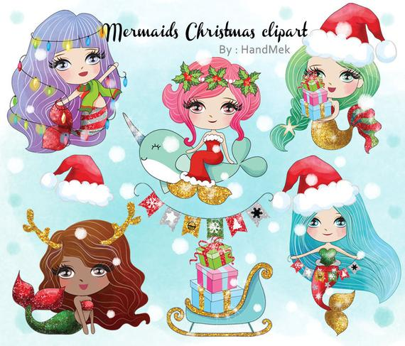 Cute Mermaid Christmas clipart instant download PNG file.