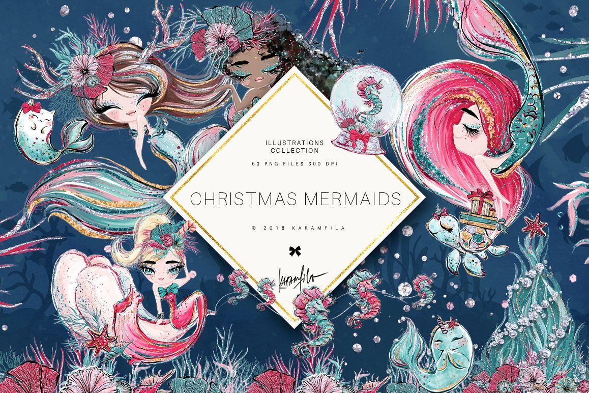 Christmas Mermaid Clipart.