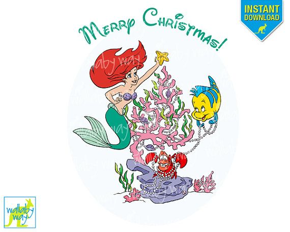 Disney Christmas Little Mermaid Printable Iron On or Use as Clipart.