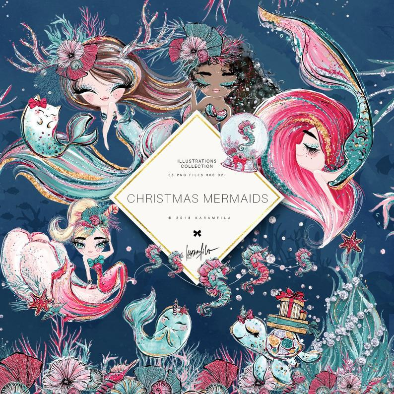 Christmas Mermaid Clipart Unicorn Clipart Underwater Clipart Nautical  Clipart Starfish Sea Turtle Narwhal Seahorse Mermaid Planner Stickers.