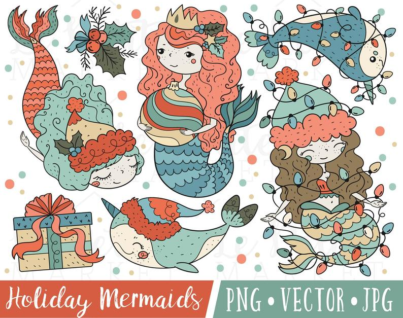 Cute Christmas Mermaid Clipart Images, Cute Holiday Mermaid Clip Art,  Mermaid Christmas Illustration Set, Christmas Narwhal Clipart.