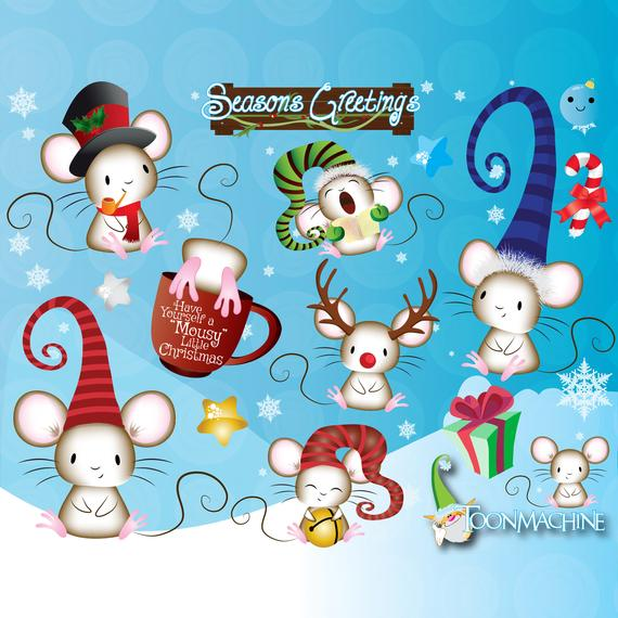 Items similar to Christmas Mouse Clipart PNG, Holiday Season Mice.