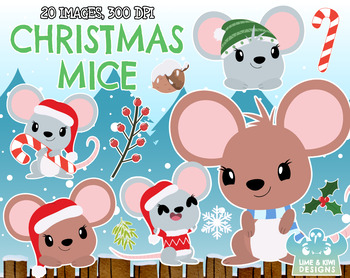 Christmas Mice Clipart, Instant Download Vector Art, Commercial Use Clip  Art, Ch.