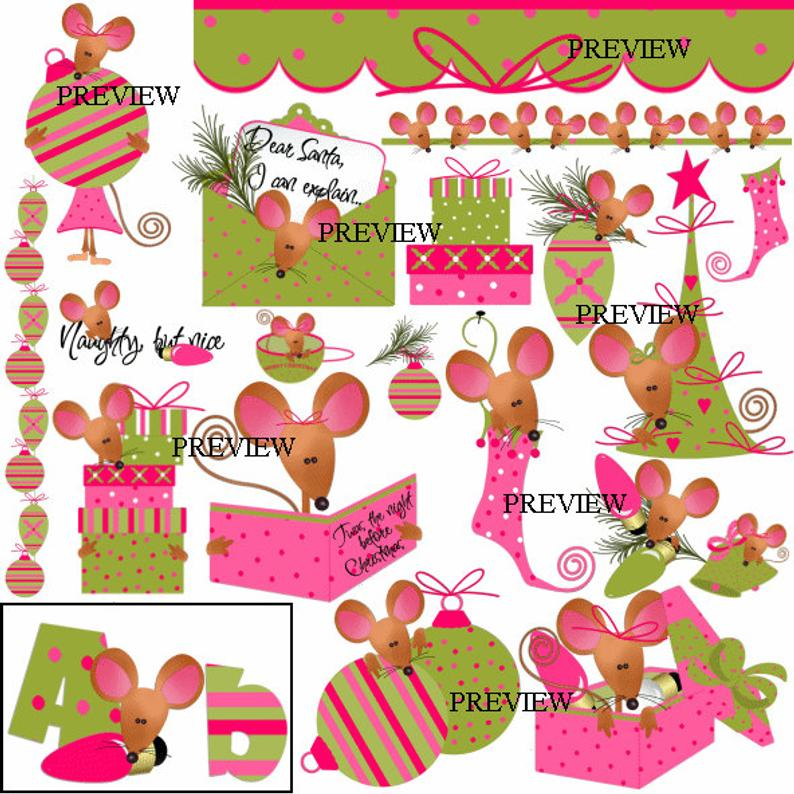 Cute mice clip art, Christmas mouse clipart, mice stocking graphics, mouse  gift clip art, party favor, kits, printables invites clip art.