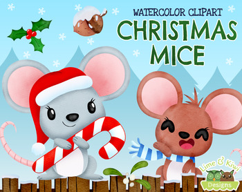 Christmas Mice Watercolor Clipart.
