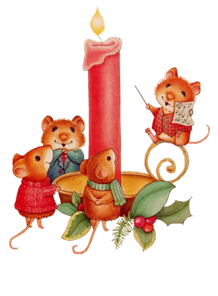 CHRISTMAS MICE AND CANDLE CLIP ART.