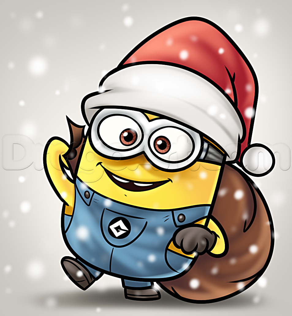 how to draw a christmas minion.