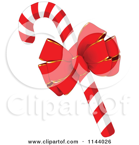 Cartoon Of A Christmas Peppermint Candy Cane With Holly.
