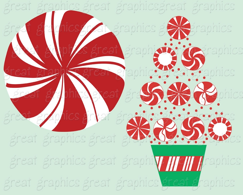 Christmas Peppermint Clipart.