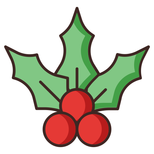 Cherry, christmas, mistletoe icon.