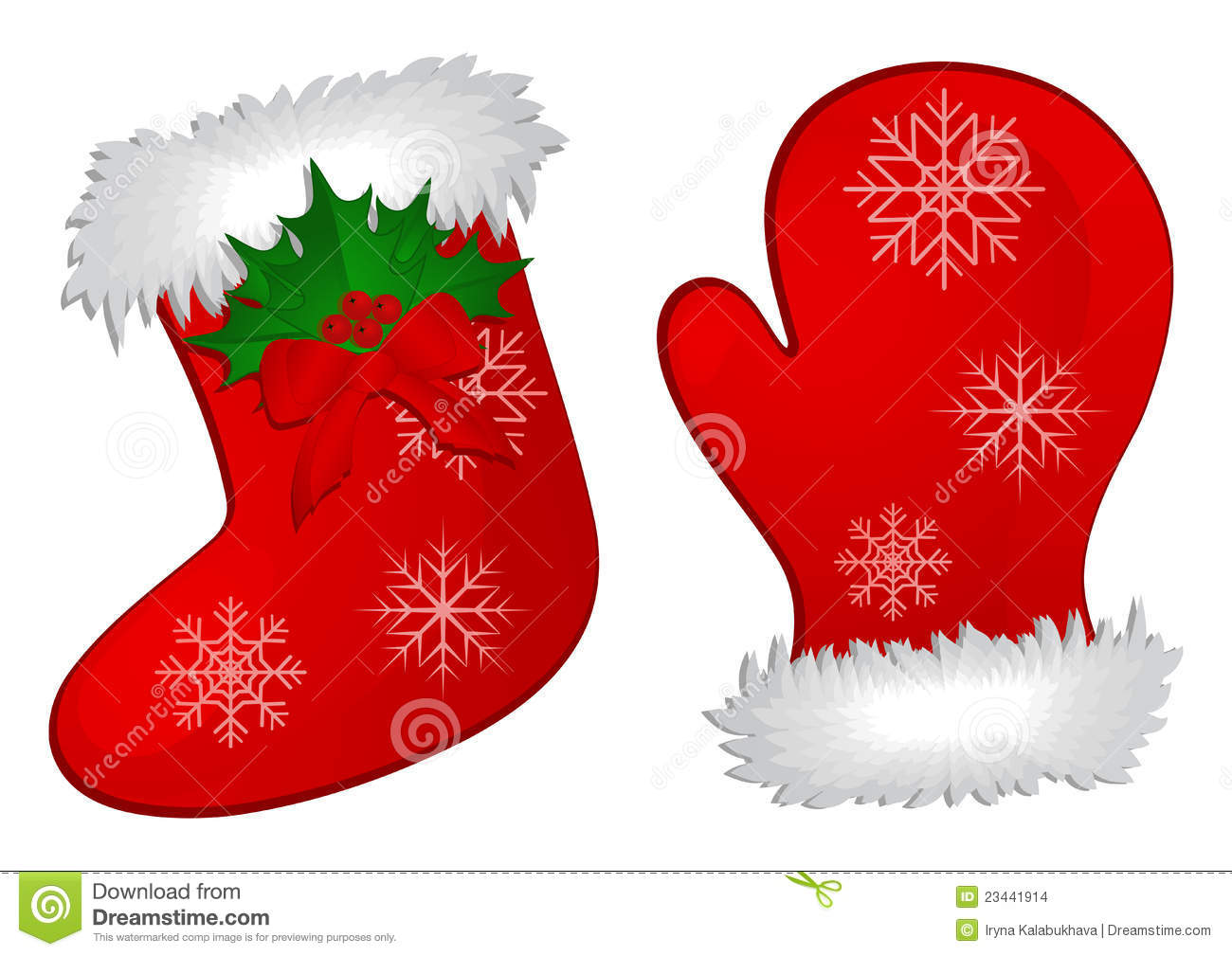 Christmas Stocking And Mitten Stock Images.