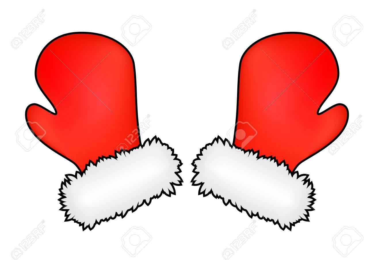Christmas mittens, cartoon gloves design, icon, symbol. Winter...