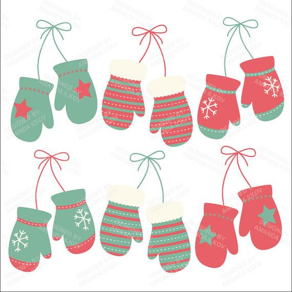 Professional Modern Christmas Mittens Clipart by AmandaIlkov.