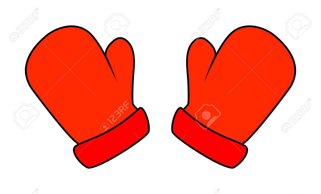 Christmas mittens, cartoon gloves design, icon, symbol. Winter.