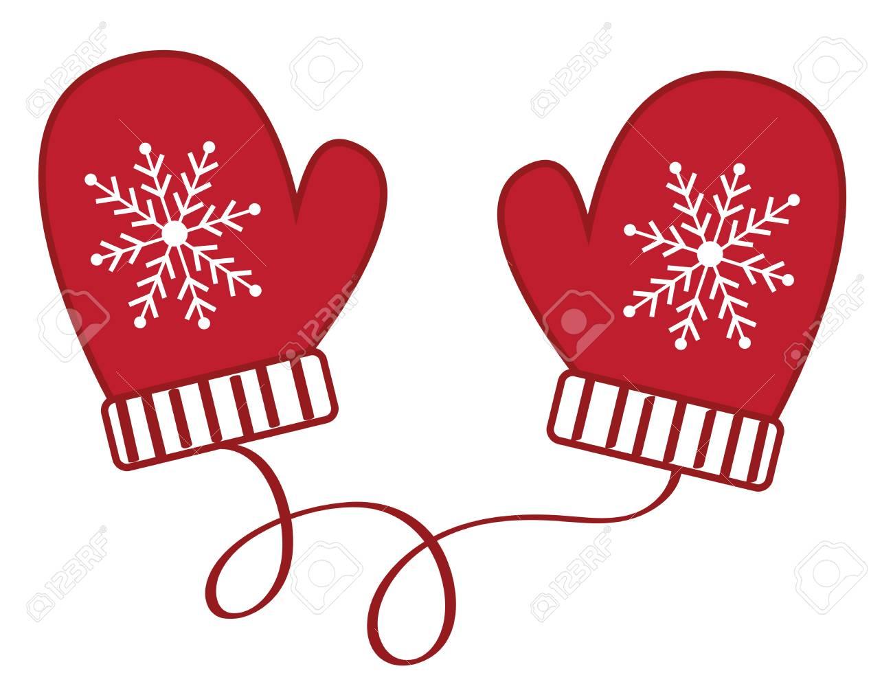 Christmas winter mittens illustration on white background..