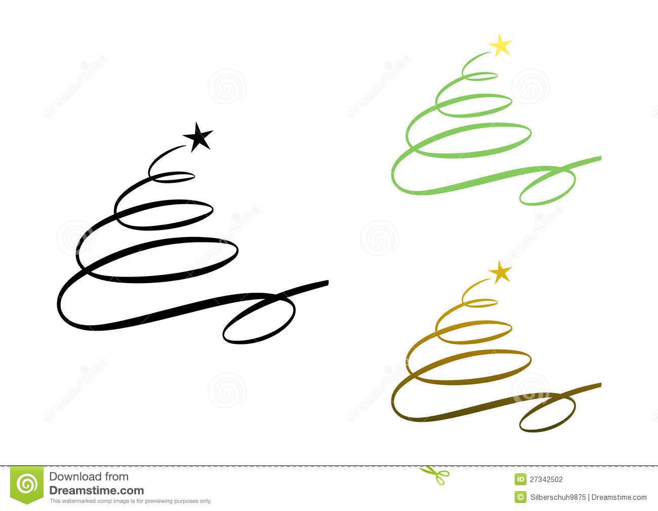Abstract Modern Christmas Tree (set) Stock Vector.