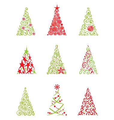 Set of modern christmas trees vector.