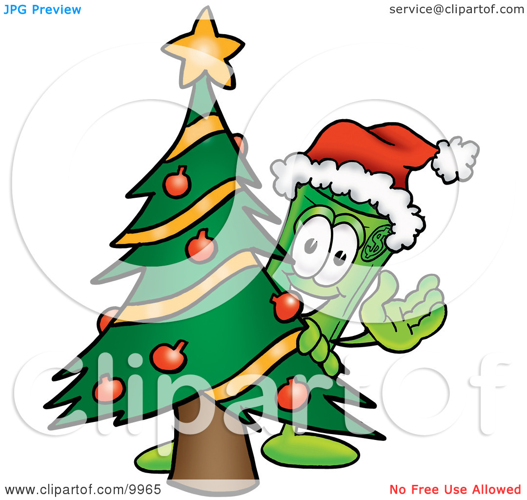 Clipart Picture of a Rolled Money Mascot Cartoon Character Waving.