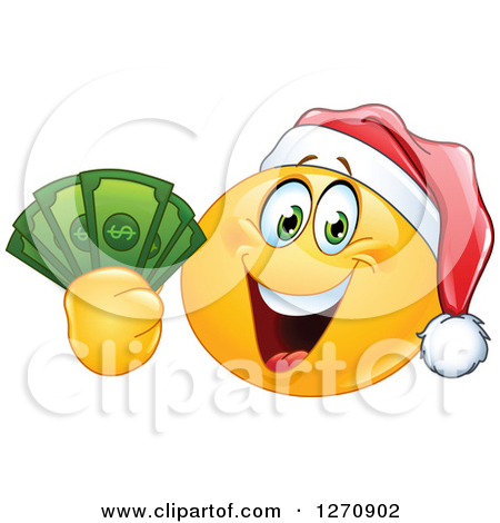 Clipart of a Happy Emoticon Smiley Wearing a Christmas Santa Hat.