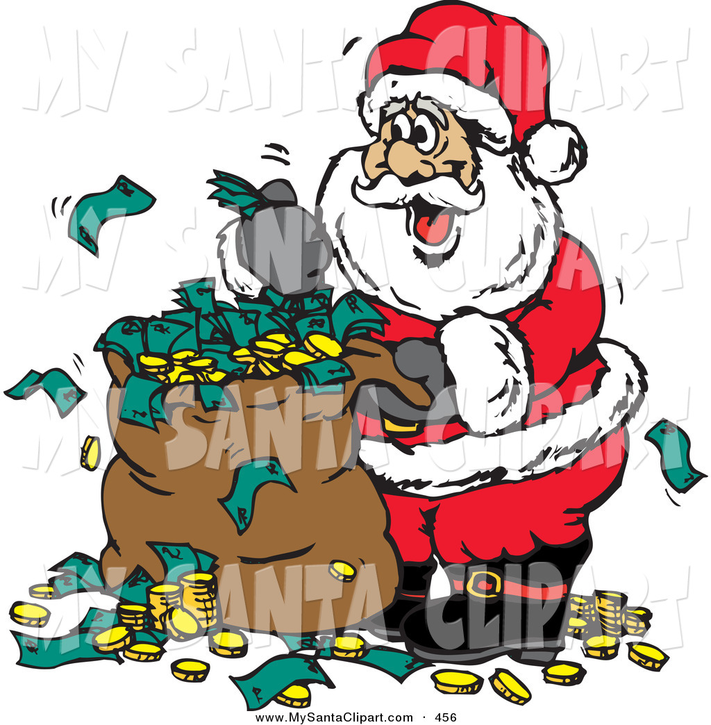 Christmas Clip Art of a Happy Santa with a Sack Full of Donated.