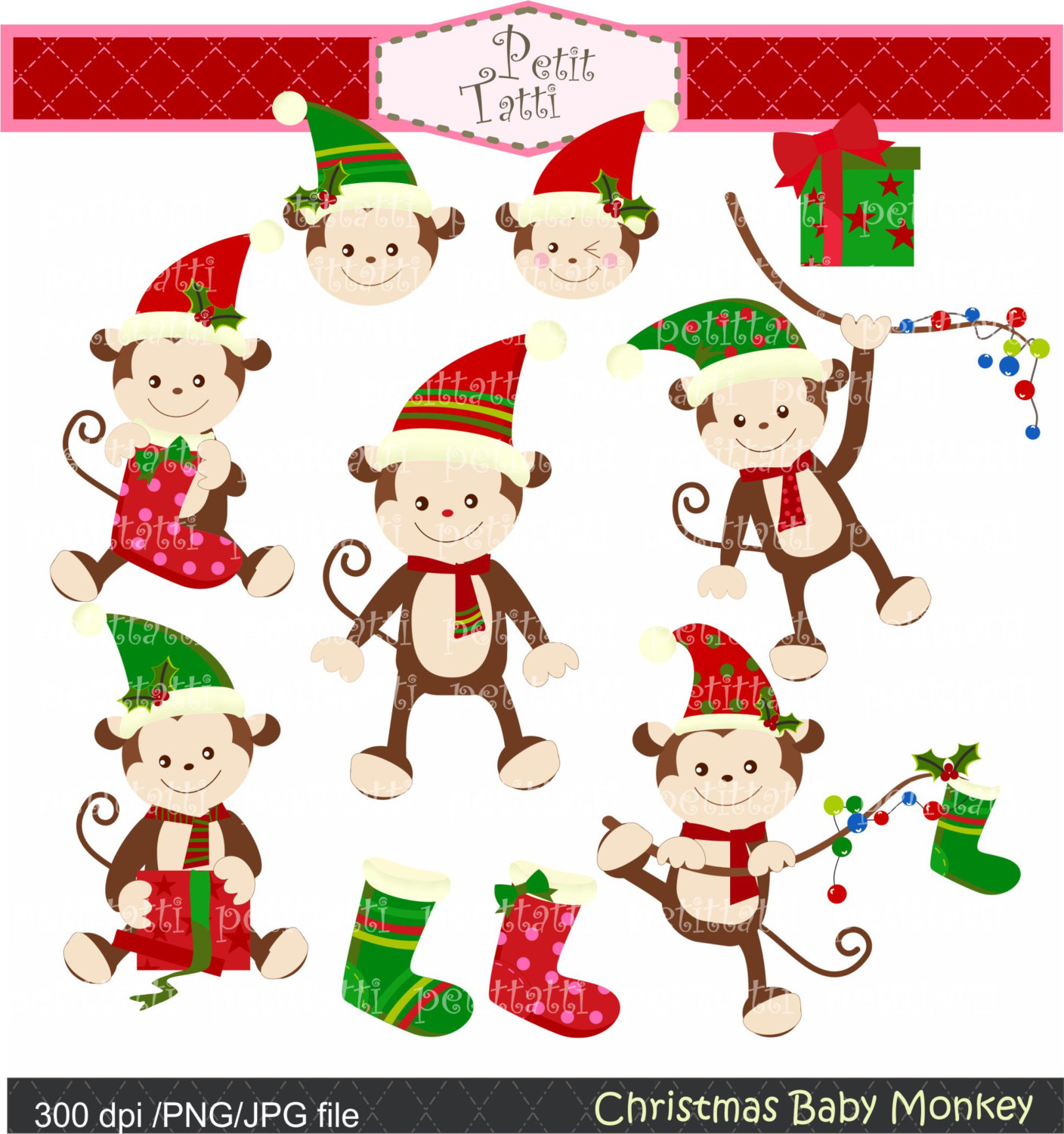 Christmas Monkey Clipart.