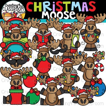 Christmas Moose Clipart {Christmas Clipart}.