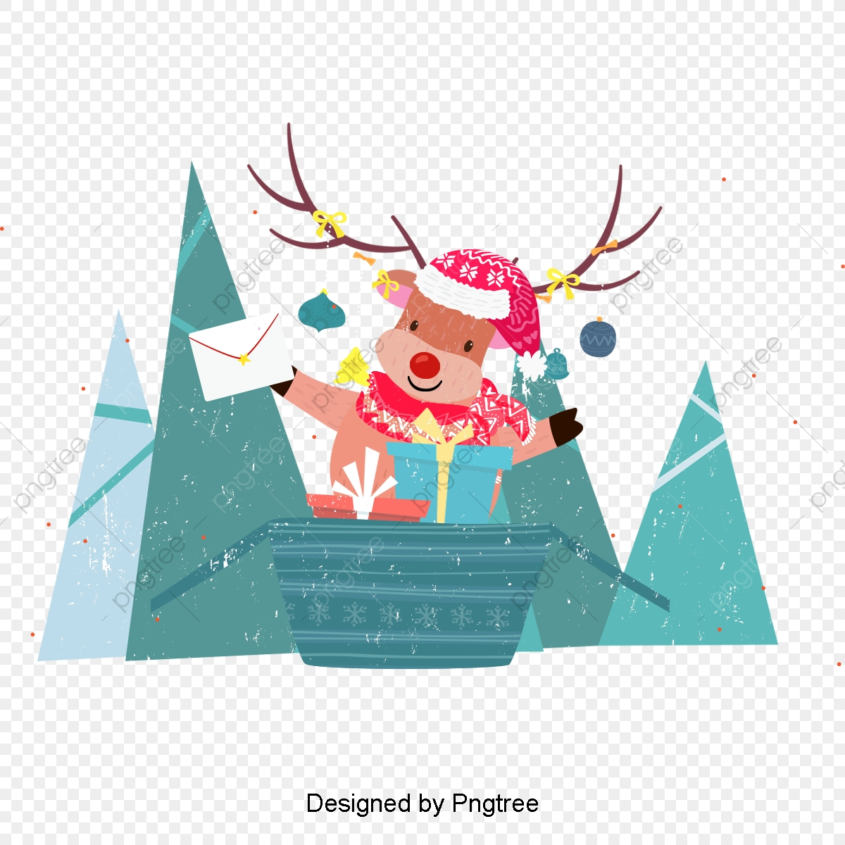 Lovely Christmas Moose Blue Retro Art, The, Cute, Tree PNG.