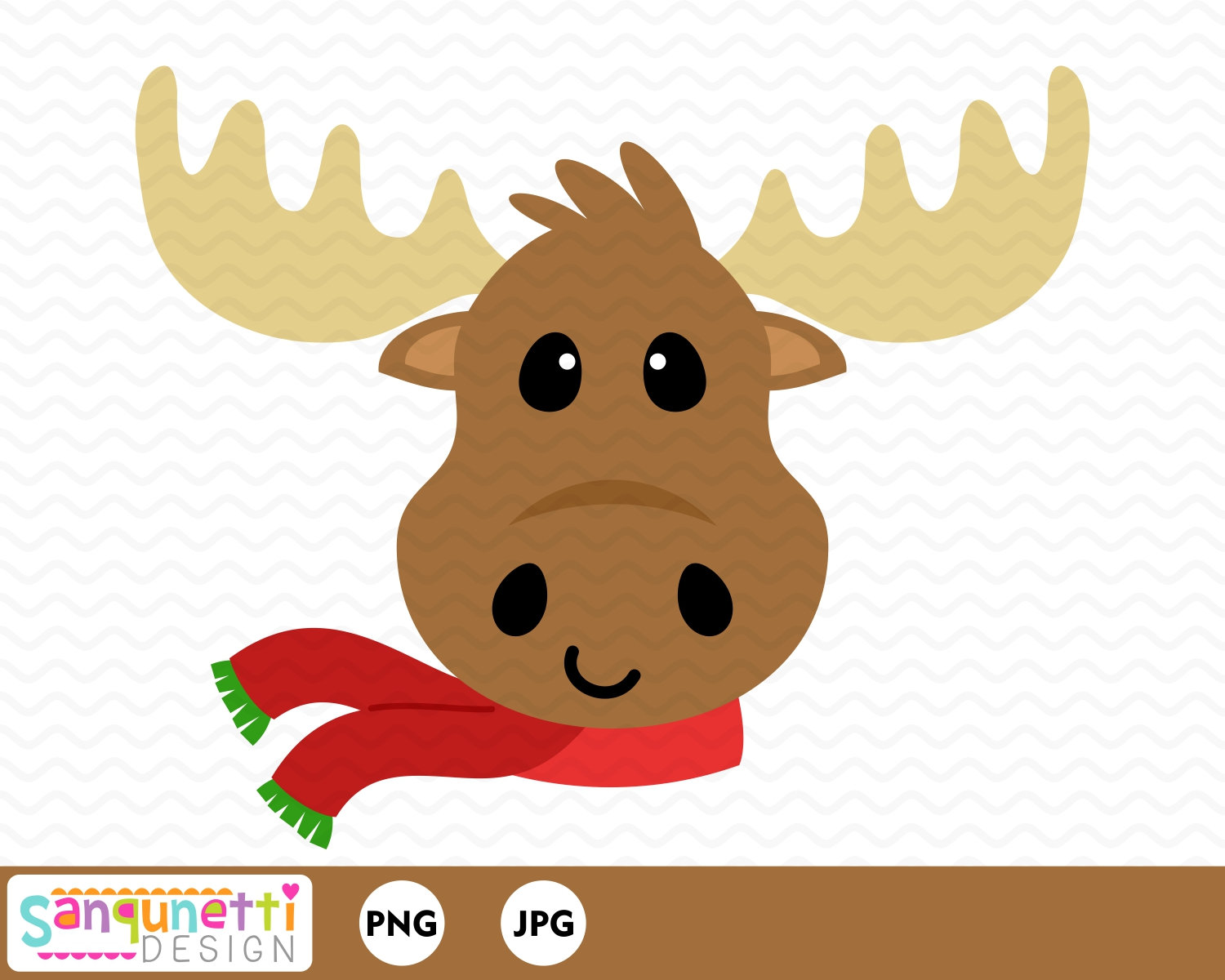 Christmas Moose clipart, winter woodland clip art, instant download.