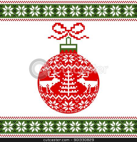 Christmas ball with nordic motif stock vector.