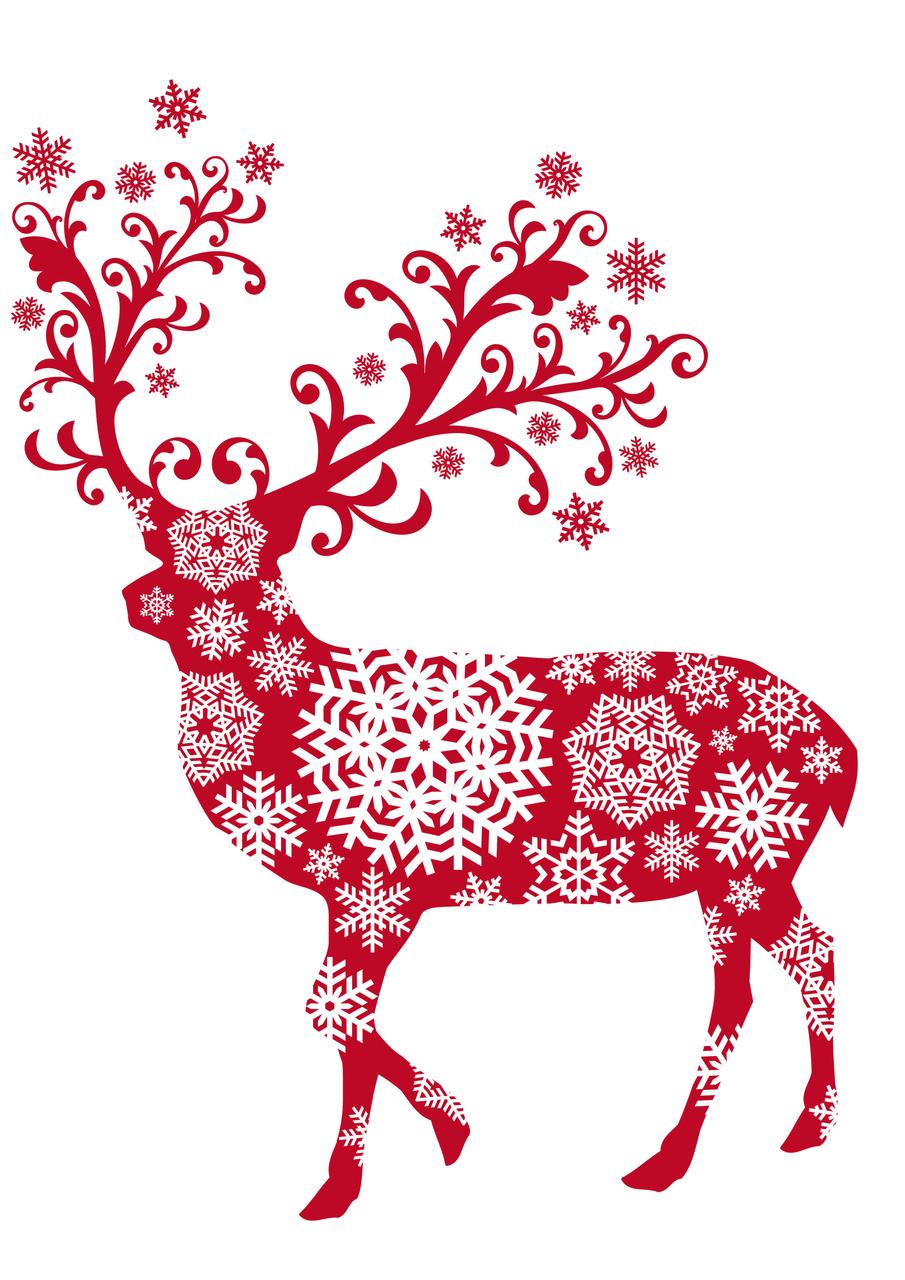 Elegant Reindeer Christmas Clipart.