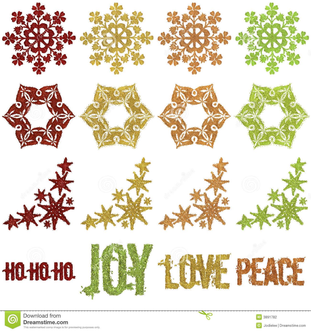 Beaded Glitter Christmas Snowflake Ornaments Stock Photography.