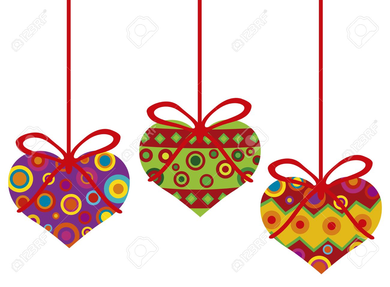 Happy Valentines Day Hanging Heart Shape Christmas Tree Ornaments.