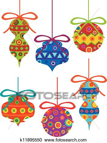 Christmas Ornaments with Tribal Motifs Clipart.