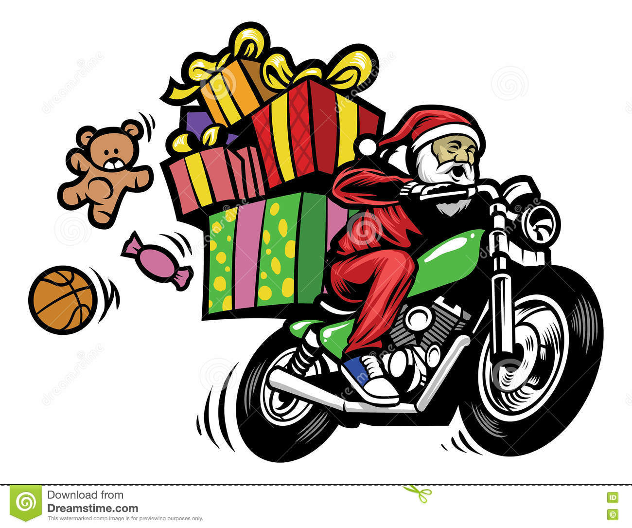 Santa Claus Delivering The Christmas Gift By Riding A Motorcycle.