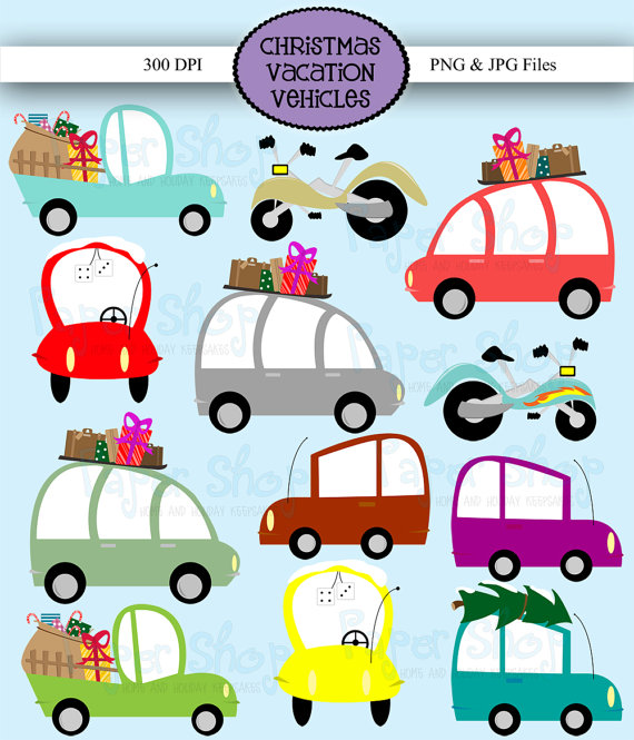 Instant Download Christmas Vacation Vehicles Clipart car clip.