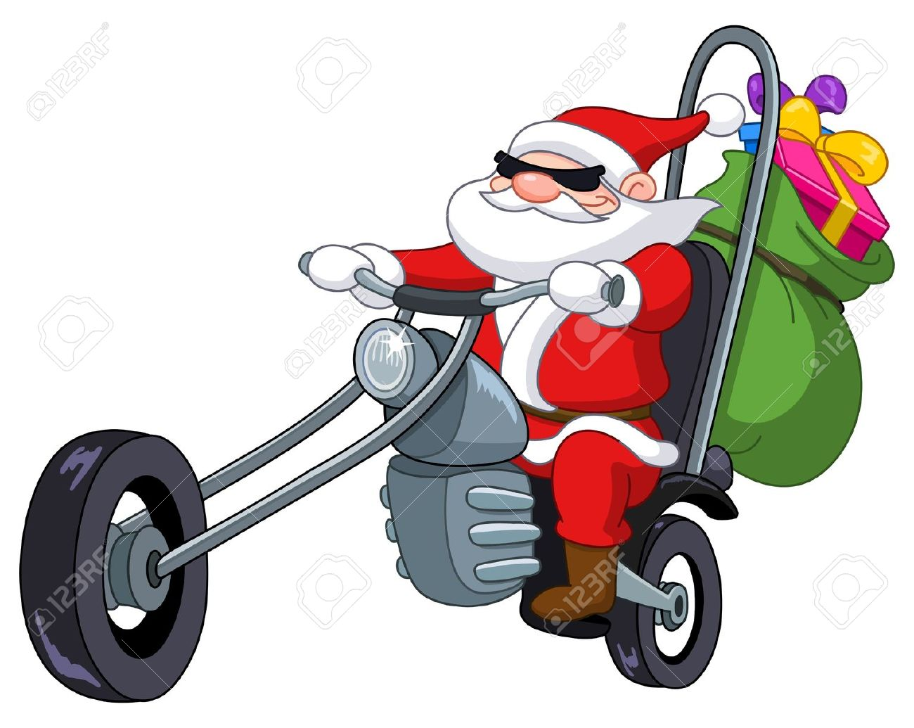 Santa On A Motorcycle Royalty Free Cliparts, Vectors, And Stock.