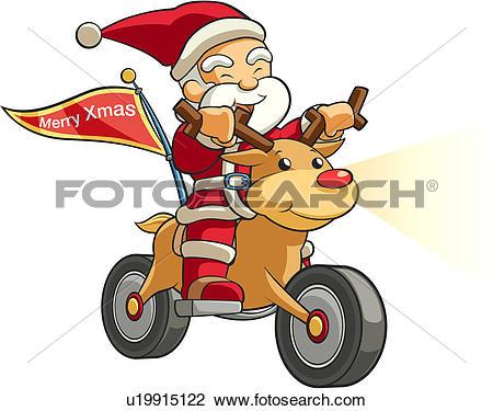 Clipart of people, winter, motorcycle, deer, SantaClaus, Christmas.