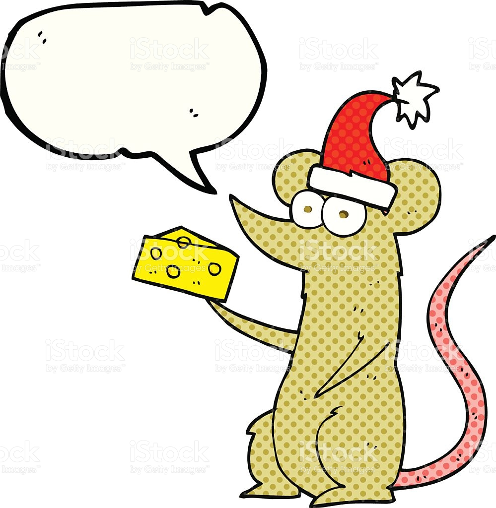Comic Book Speech Bubble Cartoon Christmas Mouse With Cheese stock.