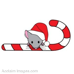 Clip Art of a Mouse Peeking Out From Behind A Candy Cane.