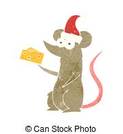 Drawings of Christmas Mouse with Cheese and Cocoa csp10705033.