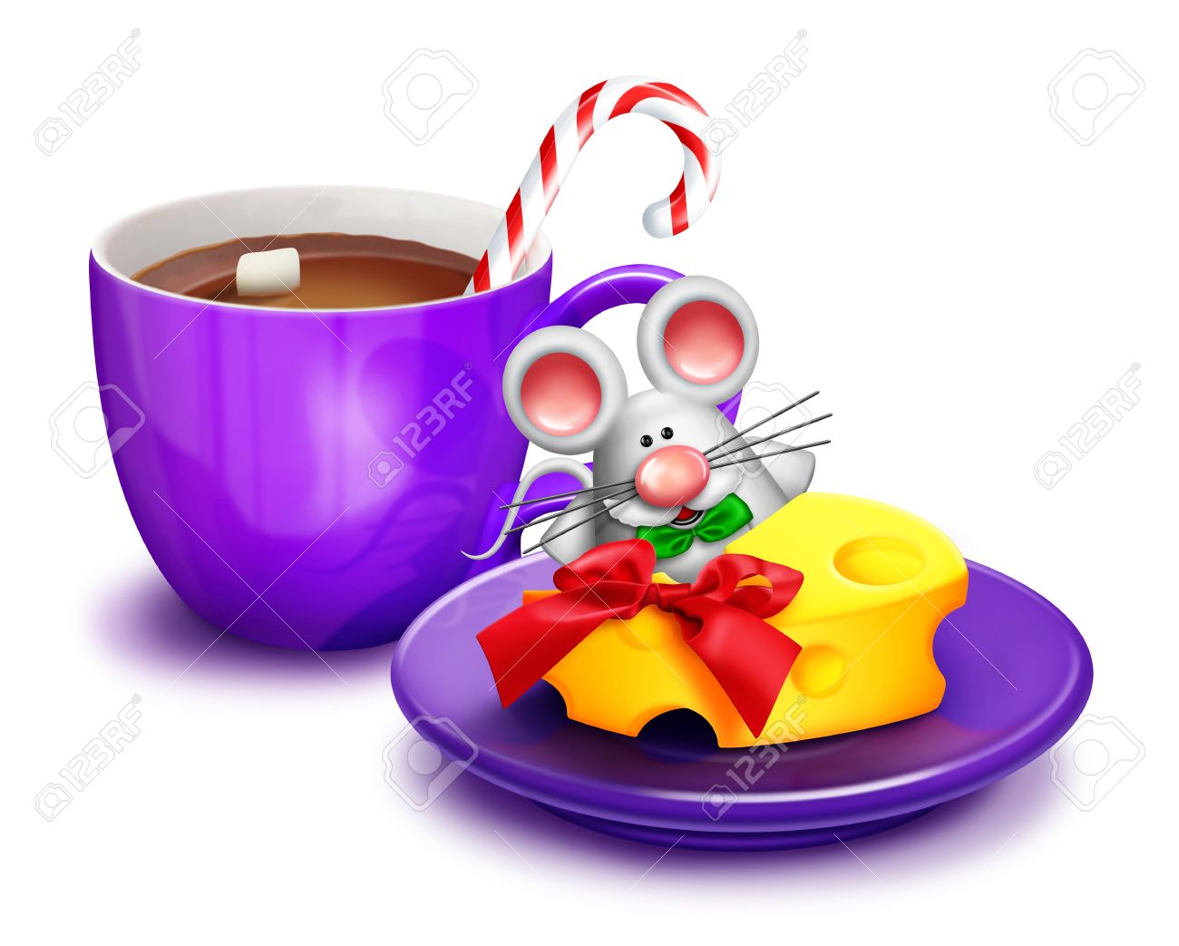 Christmas Mouse With Cheese And Cocoa Stock Photo, Picture And.