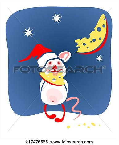 Stock Illustration of christmas mouse and cheese k17476565.