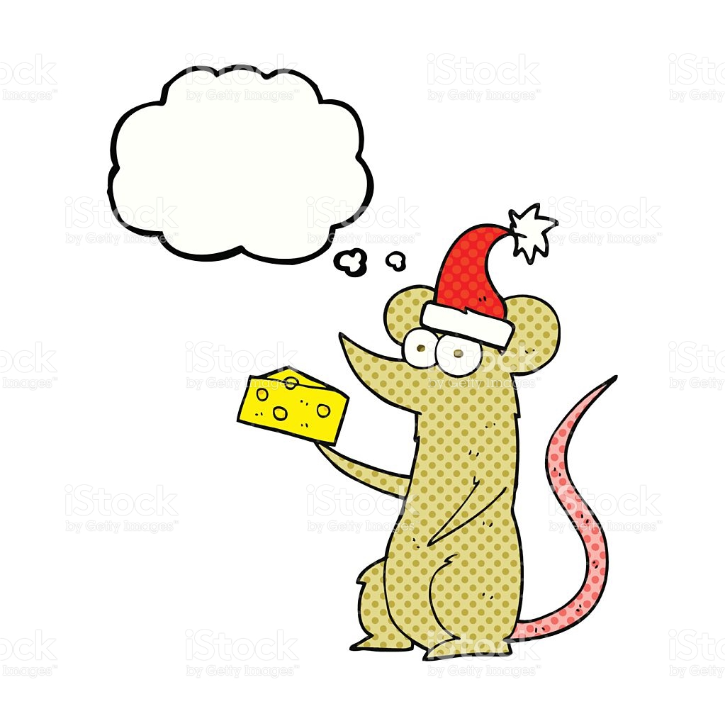 Thought Bubble Cartoon Christmas Mouse With Cheese stock vector.